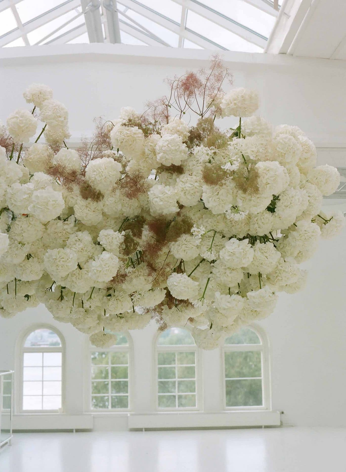 Cloud floral ceiling installation | sarahwinward.com